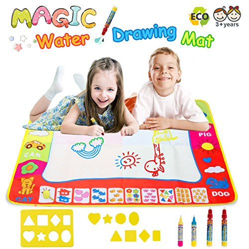 Magic Water Doodle Mats Water Drawing Mat Large 32x24in Painting Pad With 4 Pens 8 Molds Learning Educational Toddler Toys Toddler Gifts for Girls Boys Age 2 3 4 5+ (Toys For 7 Year Girl)