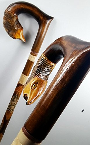 34 inch FOX Cane Walking Stick Wooden Handmade Men's Accessories