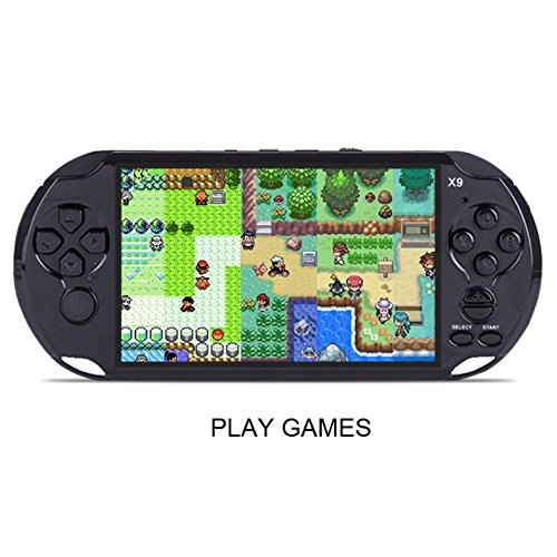 Handheld Retro Game Console,Leezo 1PC X9 Rechargeable 5inch 8G Built-in Game Classic Portable Retro Game Player Support TV Output With MP3 Movie Camera Birthday Gift for Kid - Black by Leezo