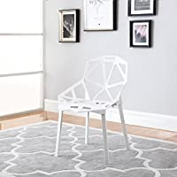 Modern Set of 2 Hollow-Out Geometric Style Chair (White)