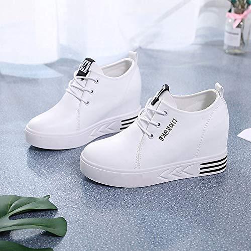 ZHZNVX Zapatos de Mujer PU (Poliuretano) Summer Comfort Sneakers Flat Heel Round Toe Blanco/Negro White