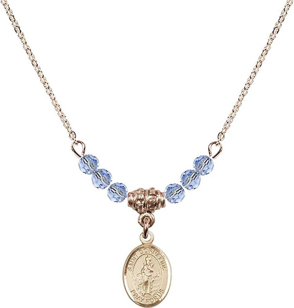 18-Inch Hamilton Gold Plated Necklace with 4mm Light Sapphire Birthstone Beads and Gold Filled Saint Cornelius Charm.