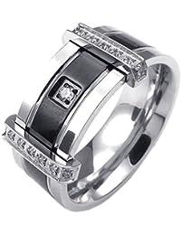 Mens Cubic Zirconia Stainless Steel Ring, Charm Elegant...