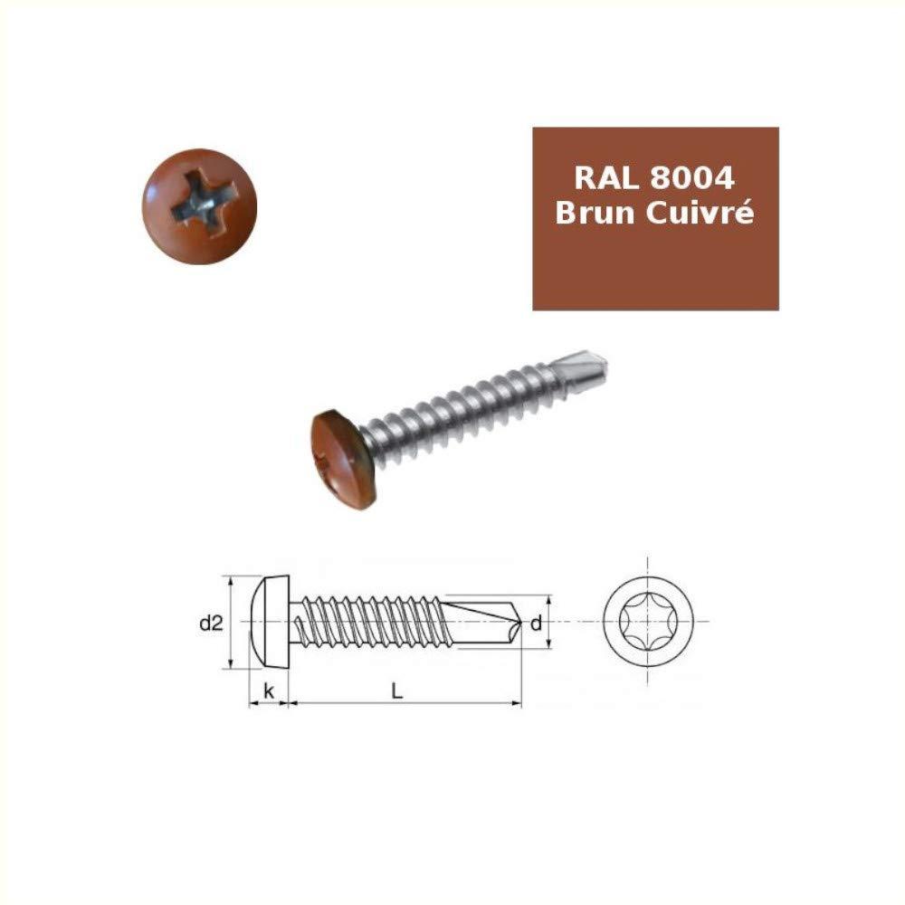 Vis autoperceuses 4,2x16 mm t/ête RAL 8004 brun cuivr/é Ph par 100