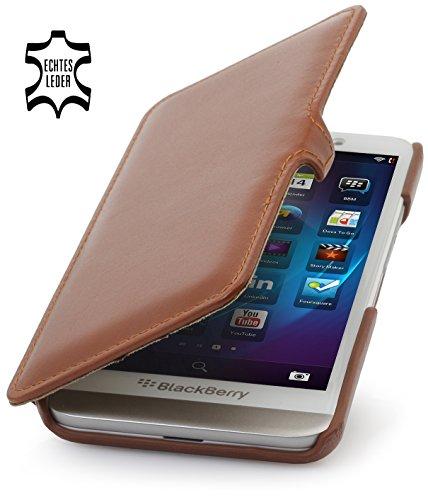 StilGut Book Type with Clip and Sleep/Wake Sensor, Genuine Leather Case, Cover for BlackBerry Z30 (also Z30 Verizon Wireless), Cognac Brown - Blackberry Z30 Leather Case