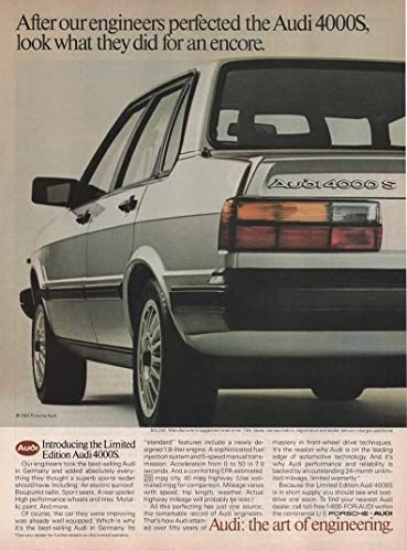 - Magazine Print ad: 1984 Audi 4000S Limited Edition,