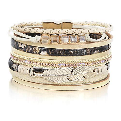Beige Crystal Bracelet Bead Leaf Bracelet Gold Rhinestone Wrap Bracelet Leather Cuff Bracelet Braided Bracelet Boho Jewelry for Women Teen Girls