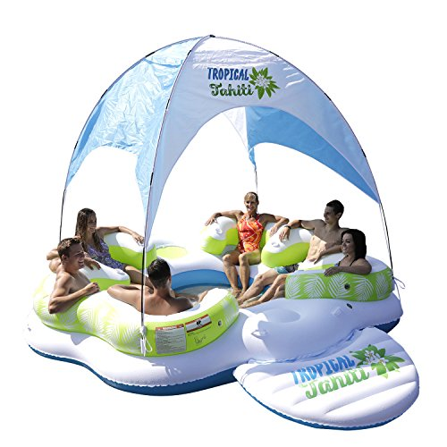 Sun Pleasure Tahiti Floating Canopy Island - Pump NOT Included - Giant Inflatable Float - use in Lake, Ocean, River, Pool Floats for up to 6 People - 1 Year -