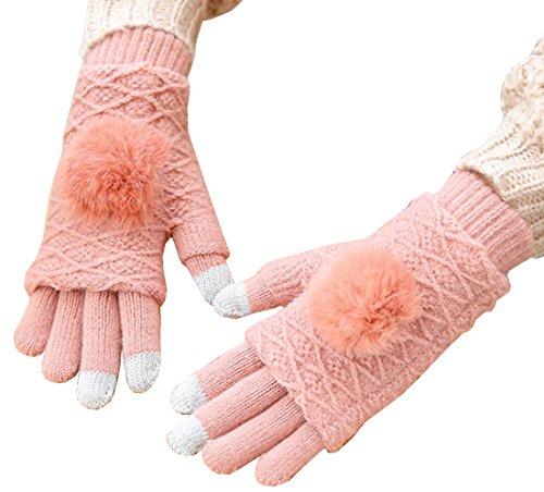 目の前の農業王位Heaven Days(ヘブンデイズ) 手袋 ニットグローブ スマホ対応 2way 模様編 ファーボンボン付 レディース 1712N0497