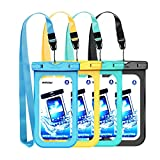 "Mpow Waterproof Case, IPX8 Universal Waterproof Pouch New Type PVC Underwater Dry Bag for Outdoor Activities for Devices up to 6.0"" (4-Pack)"