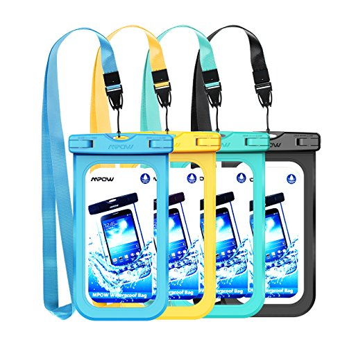 Mpow Waterproof Case, New Type PVC Waterproof Phone Pouch, Universal Dry Bag for iPhone 8/8 Plus/7/7 Plus, Galaxy /Google Pixel/LG/HTC (4-Pack), Blue Yellow Green Black, 7.8x4.3x0.5 inch