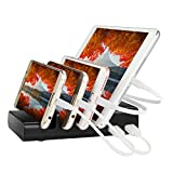 USB Charging Station,4 Ports Charging Station Desktop Charger Organizer,Charge Hub Use to Travel Home Stand Charge Device Multiple Usb Charging Dock for Smartphone and Tablet/iPhone7/Mini iPad(Black)