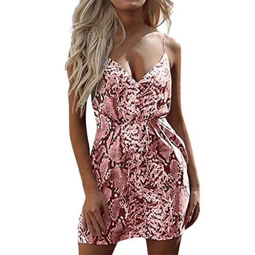 Sunhusing Ladies Sexy V-Neck Sleeveless Sling Leopard Print Stretch Elastic Waist Mini Short Beach Dress Pink