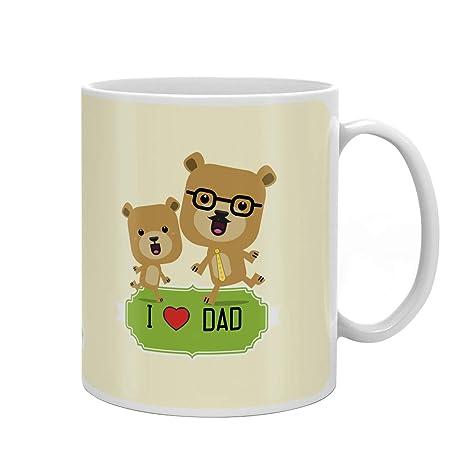 Indigifts Papa Gifts Birthday I Love Dad Quote White Coffee Mug 330 Ml