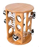BirdRock Home Bamboo Revolving Spice Rack with 12 Glass Spice Jars | Seasoning Storage Organization