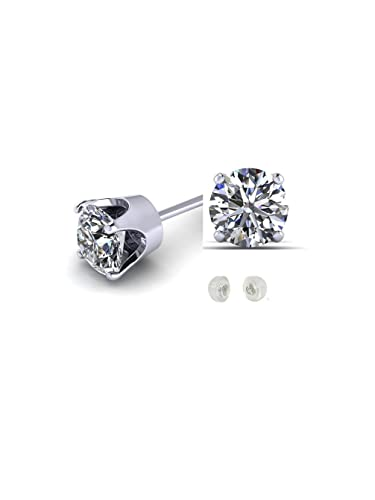 3b4334abe Amazon.com: 1/3 CTW Genuine Diamond Stud Earrings in 14k White Gold: Jewelry
