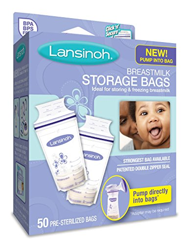 Lansinoh Breastmilk Storage Bags, 50 Count convenient milk storage bags for breastfeeding