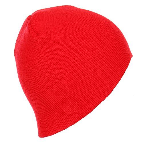 RufnTop Short Plain Knit Beanie Slouchy Cuff Toboggan Daily Hat Soft Unisex Solid Skull Cap(Red One ()