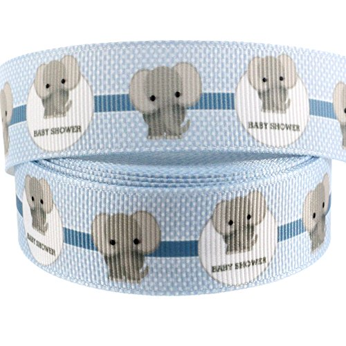 (Midi Ribbon Value Pack Elephant Blue Single Face Printed Grosgrain Ribbon 7/8