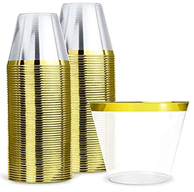 KüchePro 100 Pack 9oz Gold Rim Clear Plastic Cups - Disposable Plastic Wine Glasses for Parties, Birthdays, Fancy Cups for Kids, Bridal Showers, Fancy Cups for Wedding and Other Holiday Plastic Cups