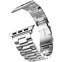 eLander Stainless Steel Metal Strap Business Replacement Band Apple Watch Series 1 2 3 4 (42mm 44mm Silver)