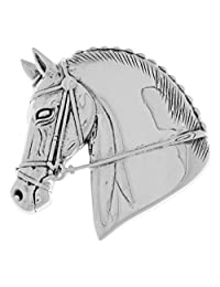Jewelry Trends Sterling Silver Horse Head Equestrian Brooch Pin