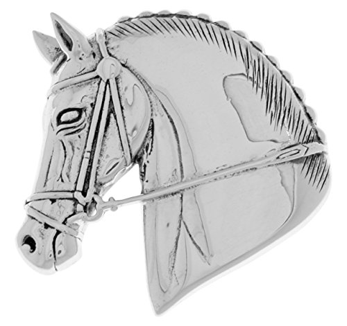 Double Horse Head Pendant - Jewelry Trends Horse Head Equestrian Sterling Silver Brooch Pin