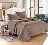 "Everest Light Weight (King/Queen Combo, Taupe) Solid Color Quilted Bedspread Coverlet(102""x90"")+2 shams (20""x36"") Hypoallergenic - Box Stitch Bedcover for homes,hotels/motels, Airbnb, rentals"