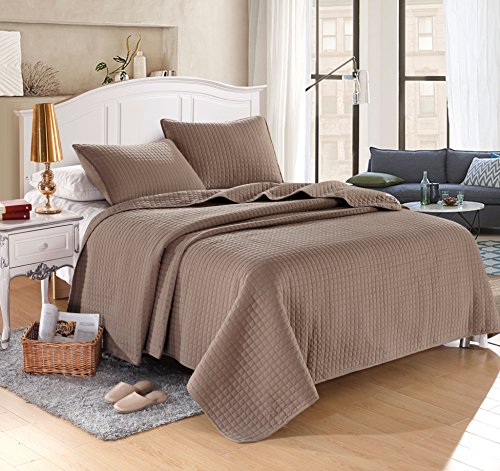 "KING TAUPE Solid color Quilted Bedspread Coverlet(96""x102"") +2 shams (20""x26"")Hypoallergenic Overfilled Bedcover for homes,hotels/motels, Airbnb, rentals polyester filling 120gsm weight5.22lbs"