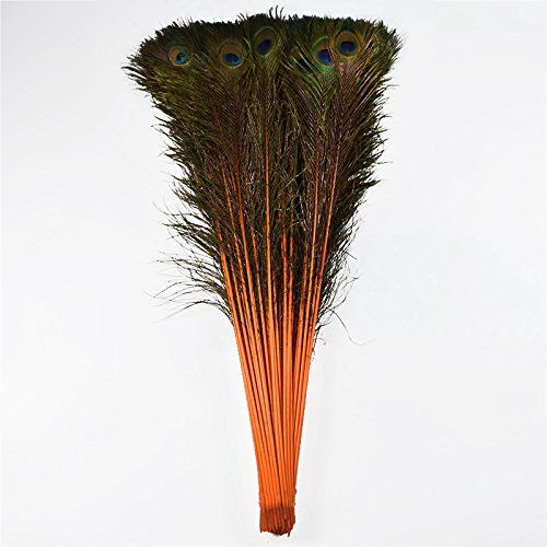 100pcs 100% Natural Peacock Feathers Fade Orange 70-80CM/28-32inch for DIY Costume mask Headdress