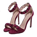 Outsta New Peep Toe Short Boots Sexy Women's High Heeled Sandals Rivet Buckle Sandals (Wine Red, US:7)