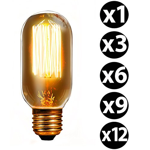 Trellonics 6 Long-Life Premium Edison Light Bulb Lamps 40 Watt E27 Screw Squirrel Cage Filament Oval Tubular Radio Valve Shaped T45 CSC Dimmable 40W Vintage, Retro, Rustic, Industrial Lighting - Park Model H