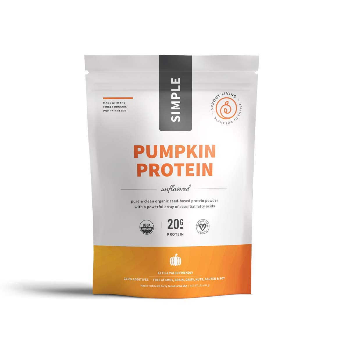 Sprout Living Simple Pumpkin Seed Protein Powder, 20 Grams Cold-Pressed Organic Plant Protein, Vegan, Gluten Free, No Dairy, No Additives (1 Pound, 16 Servings) by Sprout Living