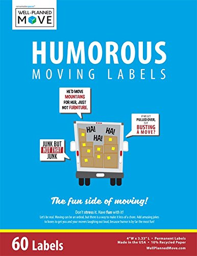 Labels Well (Well-Planned Move Humorous Moving Labels - Colored Labels with Funny Moving-Related Jokes and Sayings for Great)