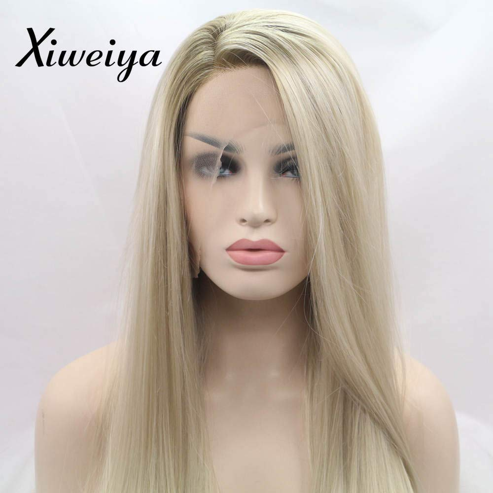 Xiweiya Ombre long blonde silky straight synthetic lace front wigs with Dark Root for women, Drag Queen with Heat Resistant Fiber Hair Replacement Wig Side Part 24 inch 651312176251