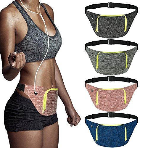 (AIWENSI Extra Wide Running Belt, Adjustable Travel Money Belt Fit All Smartphones and Passport, Stylish Fitness Workout Belt Waist Pack for Men Women Runners, Red)