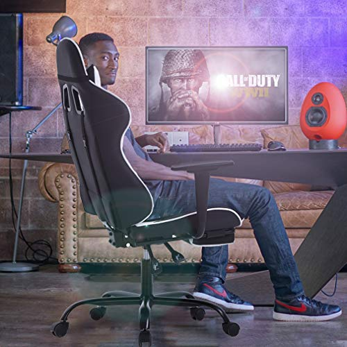 Racing Gaming Chair, High-Back PU Leather Home Office Chair Desk Computer Chair Ergonomic Executive Swivel Rolling Chair with Arms Lumbar Support for Women, Men(White)