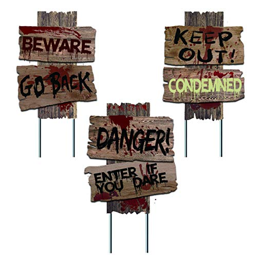 Liecho Pack of 3 Halloween Decorations Yard Signs Stakes Beware Props Outdoor Decor Scary Zombie Vampire Graves Holiday Party Supplies,Double-Sided Printing (15×12 inches)