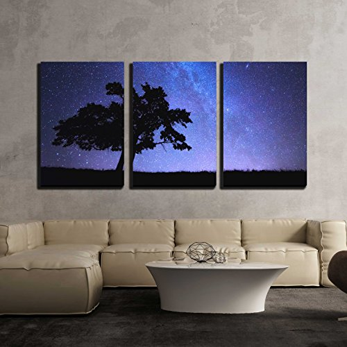 "wall26 - 3 Piece Canvas Wall Art - Alone Tree and Milky Way - Modern Home Art Stretched and Framed Ready to Hang - 24""x36""x3 Panels"