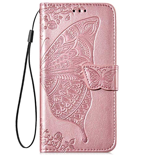 IKASEFU Compatible with Samsung Galaxy S7 Edge Case Emboss butterfly Floral Pu Leather Wallet Strap Card Slots Shockproof Magnetic Stand Feature Folio Flip Book Cover Protective Case-Rose gold