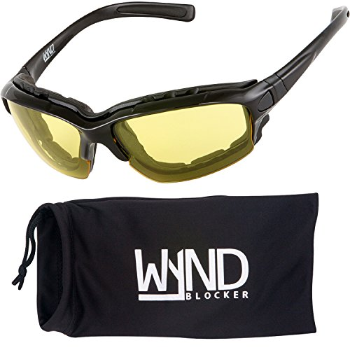 WYND Blocker Motorcycle Riding Glasses Extreme Sports Wrap Sunglasses, Black, Yellow Night Driving