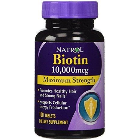 Natrol Biotin, Maximum Strength, 10,000 mcg Tablets 100 ea (Pack of 3) (Tablets Strength 100)