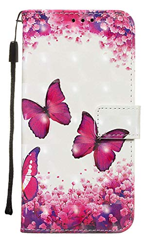 NVWA Compatible with Samsung Galaxy A2 Core Case,SM-A260F/DS Phone Cover 2019 3D Leather Wallet Folio Heavy Duty Fullbody Protective Credit Card Magnetic Closure Kickstand Accessories Rose Butterfly