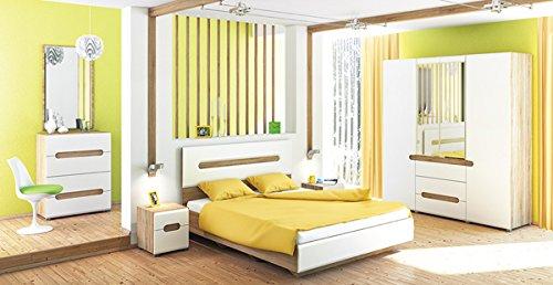 Schlafzimmer Komplett 4 Teilig 6501 Sonoma Eiche Weiss Hochglanz