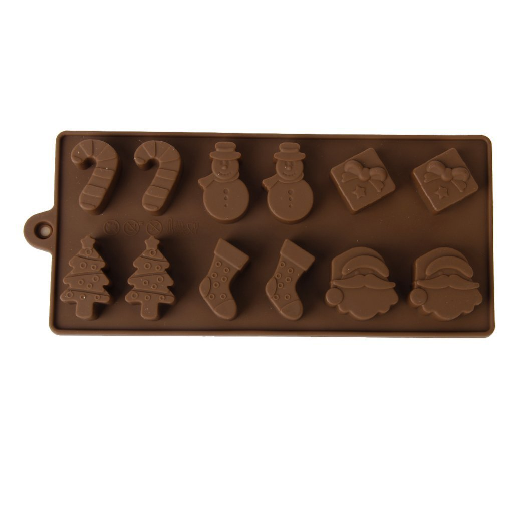 Allforhome (TM)6 Shapes Christmas Chocolate Cake Jelly Ice Silicone Fondant Mold Mould Baking Christmas Gift Snowman stockings tree Handmade Soap DIY Chocolate Mold