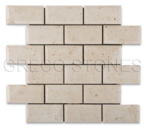 """Ivory Travertine 2 X 4 Honed & Beveled Brick Mosaic Tile - 6"""" X 6"""" Sample"""