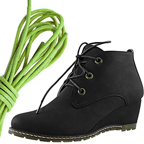Dailyshoes Moda Donna Allacciatura Punta Rotonda Stivaletto Zeppa Alta Oxford Con Zeppa, Verde Lime Nero Pu