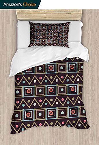 - CheeryHome Home 2 Piece Print Quilt Set, Horizontal Native Borders in Lively Colors Squares Zig Zag Stripes with Little Dots, with 1 Pillowcase for Kids Bedding,59 W x 78 L Inches, Multicolor