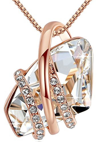 Leafael [Presented by Miss New York] Wish Stone Made with Swarovski Crystals Focal Shape Clear White Pendant Necklace, 18k Rose Gold Plated, 18