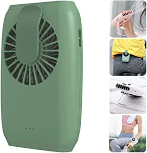 Hands Free Neck Fan Waist Clip on Fan Personal Cooling Fan Rechargeable 3 Speed Mini Fan with Adjustable Necklace Desktop Bracket Wristband for Office Travel Riding Fitness Hiking (Green)